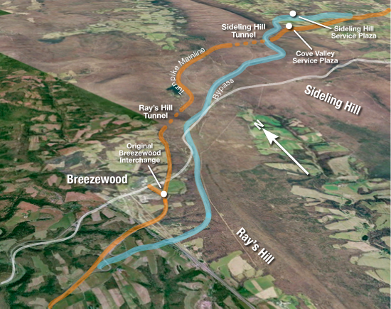 Ray's Hill/Sideling Hill Bypass Map