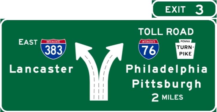 I-383 Westbound Signage