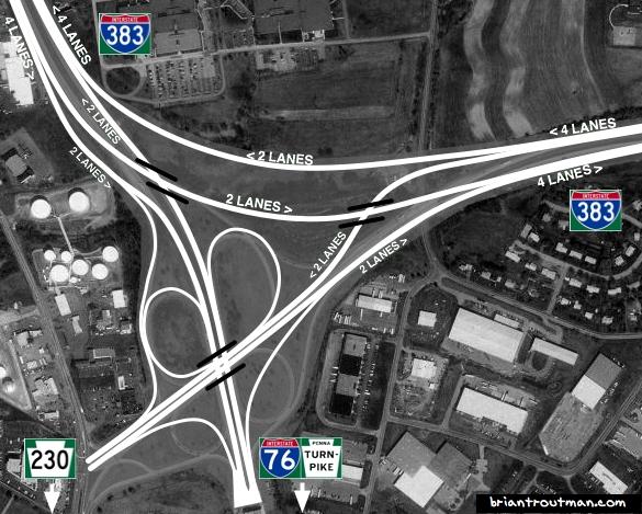 I-383: Harrisburg/Lancaster/Turnpike Interchange
